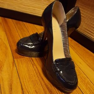 Women's Navy Blue Patent Leather Platform Heel